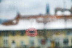 Поцелуй на окне Стоковая Фотография