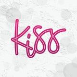 Поцелуй Только одно слово Литерность вектора современного стиля граффити printable Monoline Текст цитаты дизайна для печати Розов иллюстрация штока