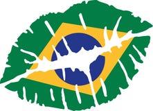 Поцелуй флага Бразилии иллюстрация вектора