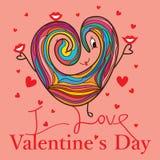 Поцелуй влюбленности шаржа влюбленности дня валентинки Стоковые Изображения