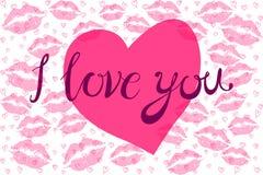Поцелуй губной помады в форме сердца Стоковое Фото