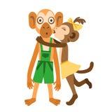 Поцелуй девушки обезьяны Стоковая Фотография RF