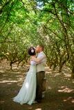 Поцелуй жениха и невеста сперва пожененный Стоковое Изображение