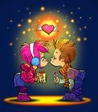 Поцелуй дня валентинки Стоковое Фото