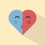 Поцелуй сердец вектора Стоковые Изображения