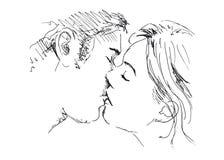 Поцелуй чертежа руки Стоковые Изображения
