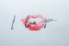 Поцелуй я тебя люблю Стоковое фото RF