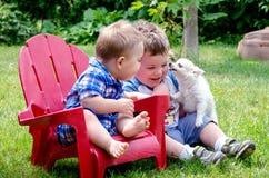 2 поцелуя братьев и щенка Стоковая Фотография RF