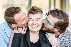 2 поцелуя с 3 людьми Стоковые Фотографии RF