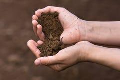 Почва в руках стоковое изображение