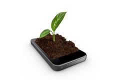 Почва в умном телефоне стоковая фотография rf