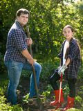Почва усмехаясь человека и милой девушки выкапывая на саде с лопаткоулавливателями Стоковое фото RF