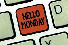 Почерк отправляет SMS здравствуйте понедельнику Сообщение смысла концепции приветствуя положительное для нового начала недели дня стоковые изображения