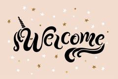 Почерк помечая буквами гостеприимсво с рожком unicon бесплатная иллюстрация