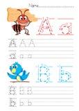 Почерк a b алфавита Стоковая Фотография