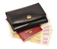Почерните бумажник, пасспорт и кредитки евро Стоковые Изображения RF