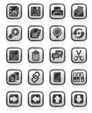 Почерните значки интерфейса интернета белизны Стоковое Фото