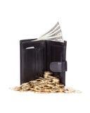 Почерните кожаный бумажник на белизне Стоковое фото RF