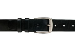 Почерните кожаный пояс изолированный на белой предпосылке Стоковые Изображения RF