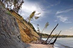 почерните сползать моря свободного полета скалы вниз Стоковое Изображение RF