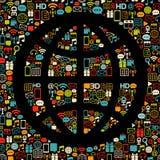 почерните цветастые сделанные иконы глобуса бесплатная иллюстрация