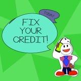 Починка текста сочинительства слова ваш кредит Концепция дела для фиксировать плохие причины положения кредита ухудшенные различн иллюстрация вектора