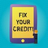 Починка текста сочинительства слова ваш кредит Концепция дела для фиксировать плохие причины положения кредита ухудшенные различн иллюстрация штока