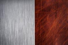 Почищенная щеткой текстура металла и кожи Стоковая Фотография