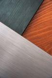 Почищенная щеткой текстура металла и древесины Стоковое фото RF