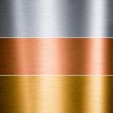 почищенный щеткой алюминием металл медного золота Стоковые Изображения