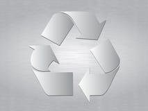 почищенный щеткой металл рециркулирует символ Стоковое Фото