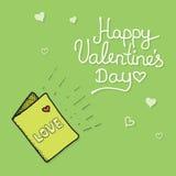 Почта влюбленности с карточкой валентинки Стоковая Фотография RF