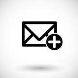 Почта добавляя плоский значок Стоковое Изображение