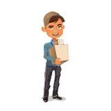 Почтальон в крышке с 2 пакетами в руках Стоковые Изображения