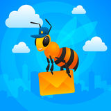 Почтальон пчелы города держит письмо Стоковая Фотография RF