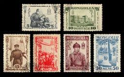 почтовая оплата s штемпелюет u Монголия Революция 1932 Монгол Стоковое Изображение
