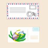 Почтовый конверт с штемпелем иллюстрация вектора