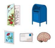 Почтовый ящик, поздравительная карточка, штемпель почтового сбора, конверт Значки собрания почты и почтальона установленные в шар Стоковые Фото
