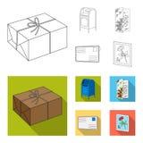 Почтовый ящик, поздравительная карточка, штемпель почтового сбора, конверт Значки собрания почты и почтальона установленные в пла Стоковые Изображения RF