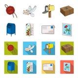 Почтовый ящик, поздравительная карточка, штемпель почтового сбора, конверт Значки собрания почты и почтальона установленные в шар Стоковое фото RF