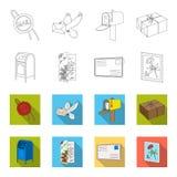 Почтовый ящик, поздравительная карточка, штемпель почтового сбора, конверт Значки собрания почты и почтальона установленные в пла Стоковое фото RF