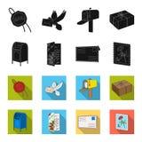 Почтовый ящик, поздравительная карточка, штемпель почтового сбора, конверт Значки собрания почты и почтальона установленные в чер Стоковые Изображения