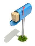 Почтовый ящик с пакетом столба Стоковые Фотографии RF