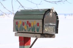 Почтовый ящик с тюльпанами конструирует на стороне дороги Стоковая Фотография