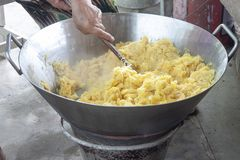 Пошевелите ананас в лотке Обрабатывать продукт стоковые изображения rf