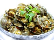 Пошевелите зажаренные clams Манилы с тайским зажаренным в духовке затиром чилей Стоковые Фото