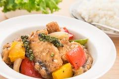 Пошевелите зажаренных рыб в соусе черного перца на плите и рисе Стоковое Изображение