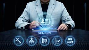 Пошлите учебную программу Cv - концепцию интернета дела резюма поиска работы vitae стоковое изображение