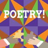 Поэзия текста почерка Концепция знача выражение литературного произведения идей чувств со стихотворениями ритма писать 2 руки иллюстрация штока