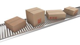 пояс кладет транспортер в коробку картона иллюстрация вектора